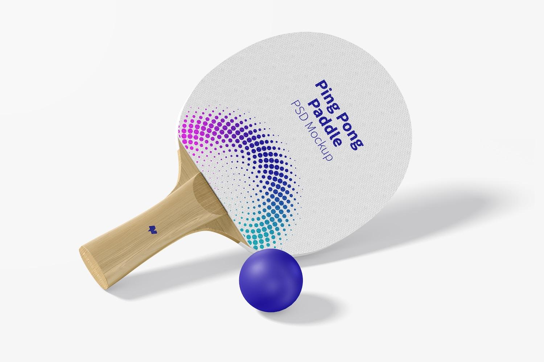 Ping Pong Paddle Mockup, Perspective View