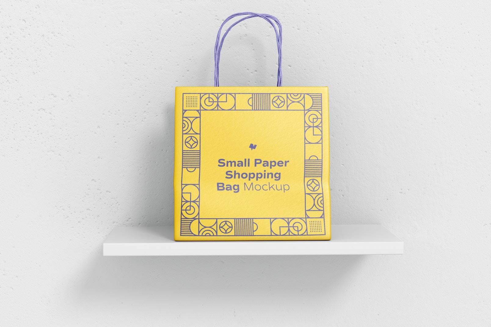 Small Paper Shopping Bag Mockup, Front View