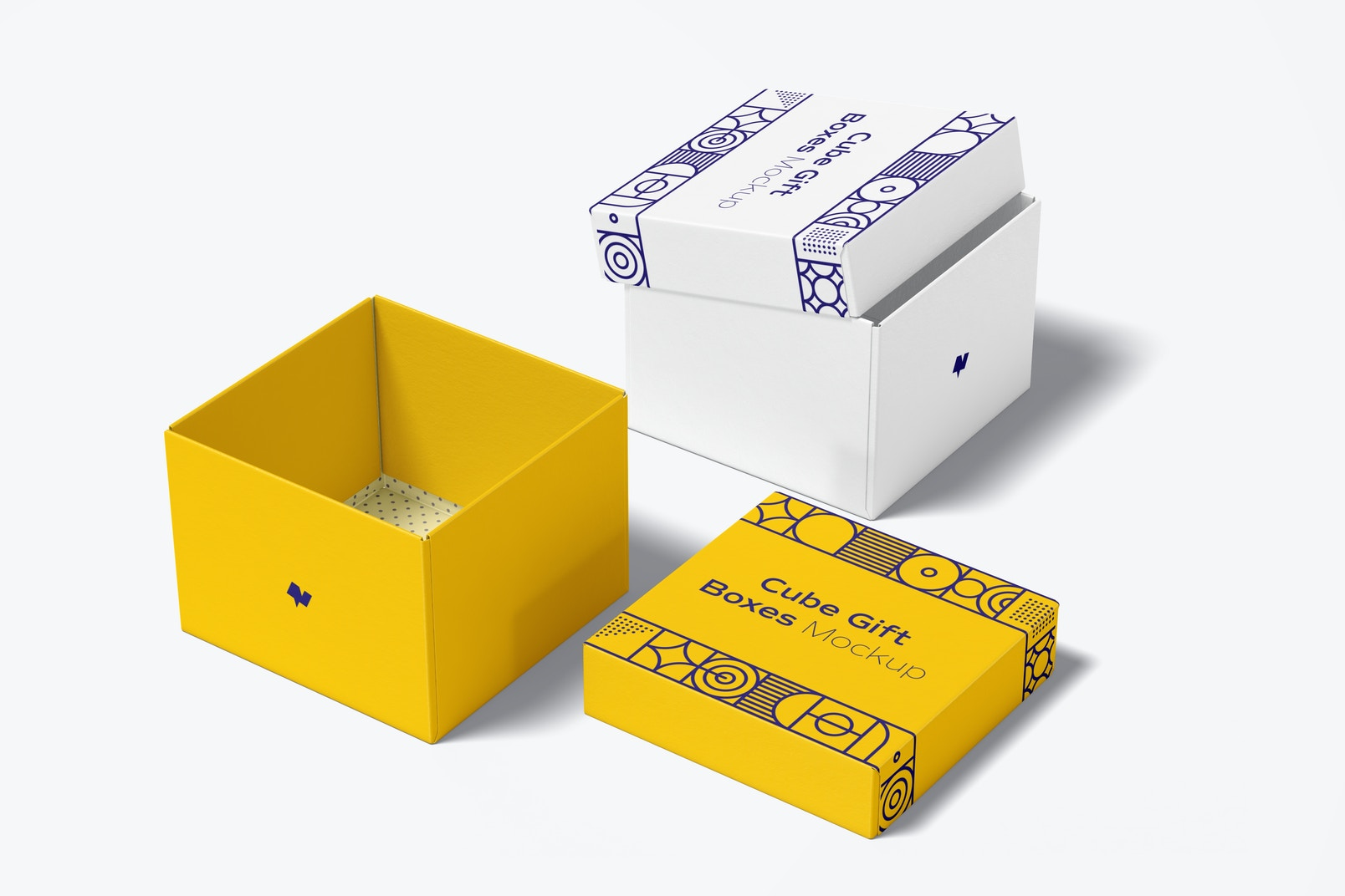Cube Gift Boxes Mockup, Open and Closed