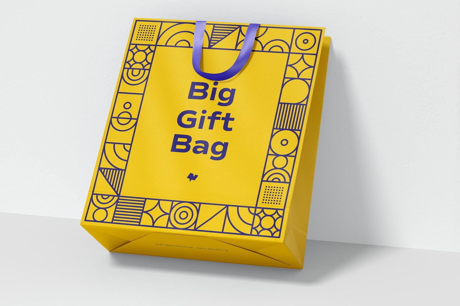 Big Gift Bag with Ribbon Handle Mockup, Leaned
