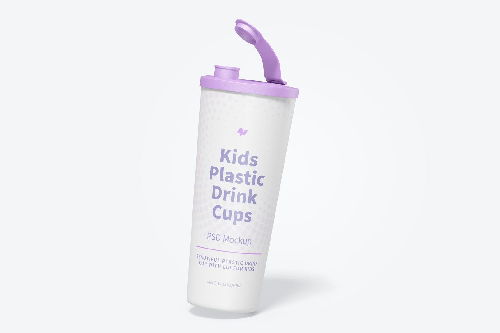 Kids Plastic Drink Cup With Lid Mockup