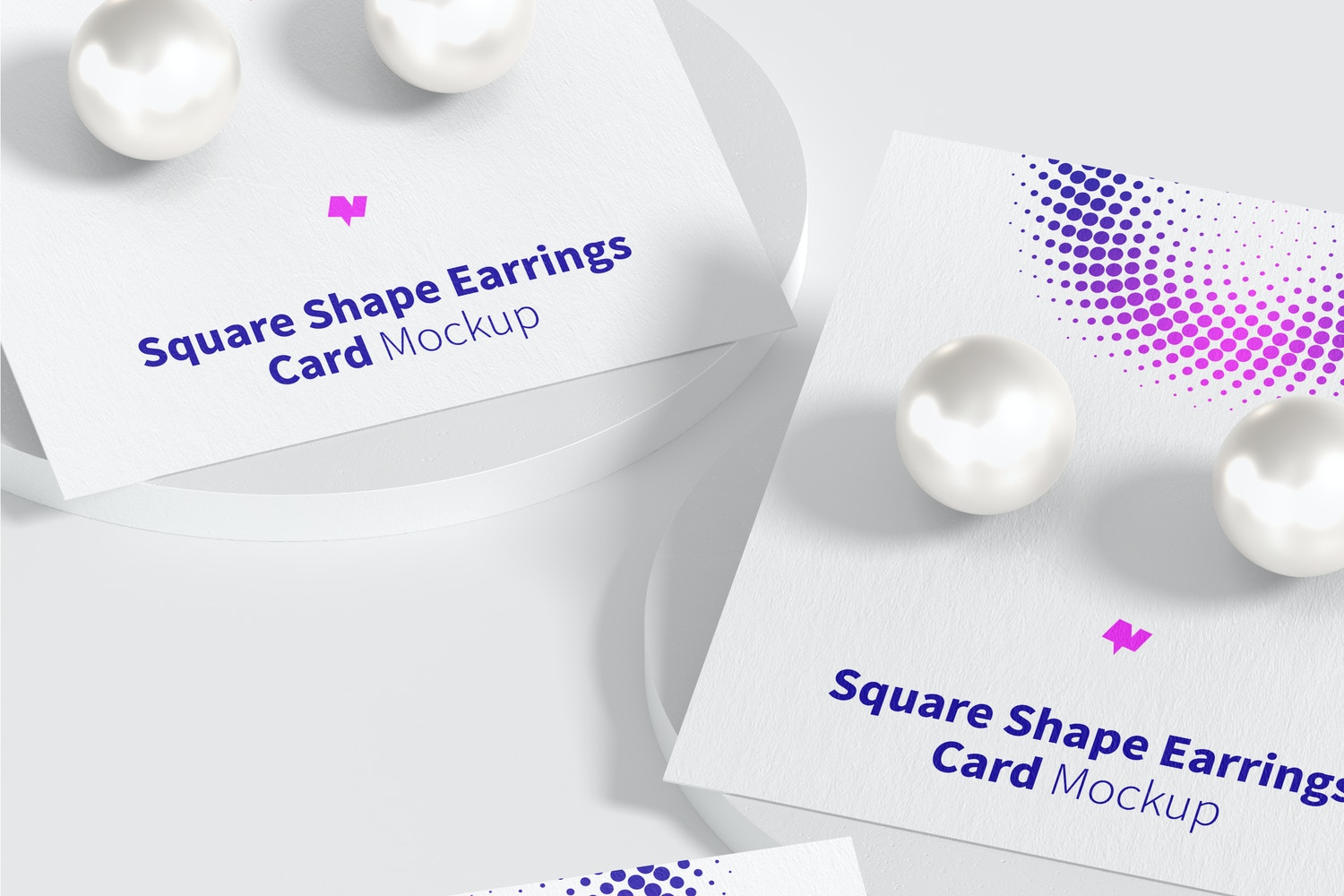 Square Shape Earrings Cards Mockup, Perspective
