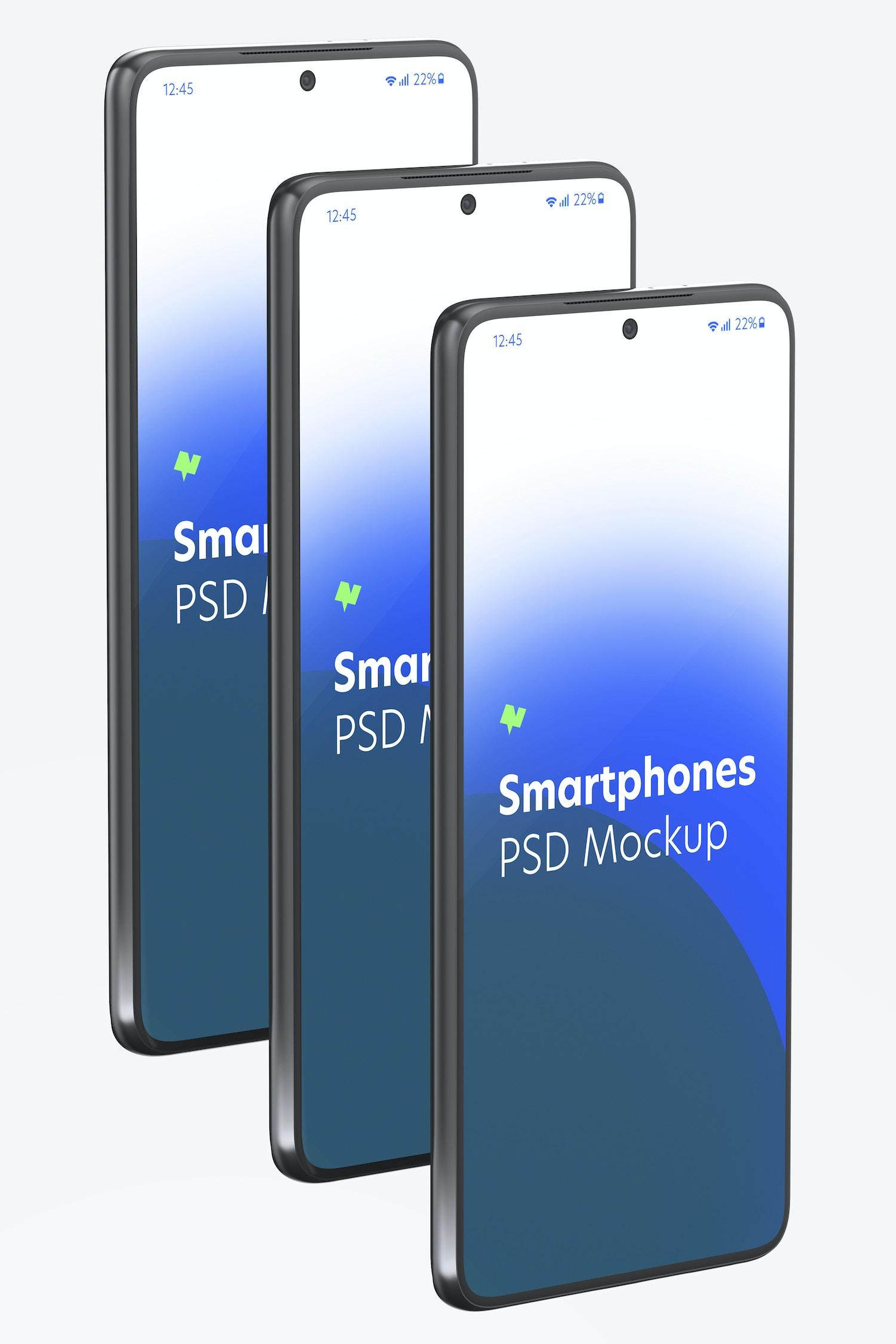 Samsung S21 Set Mockup, Left Side View