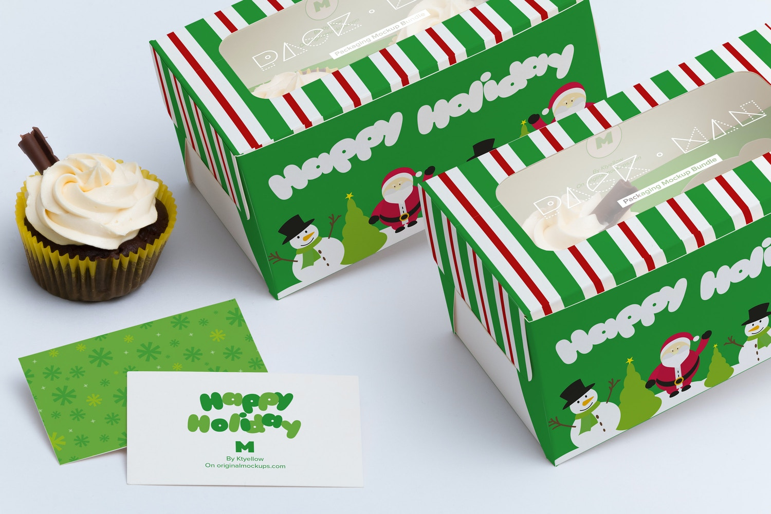 Two Cupcake Box Mockup 04 by Ktyellow  on Original Mockups