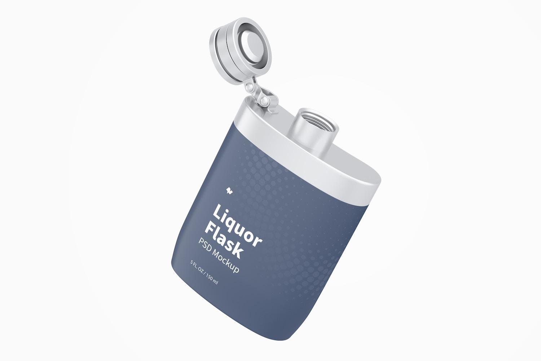 Liquor Flask With Plastic Wrap Mockup, Floating