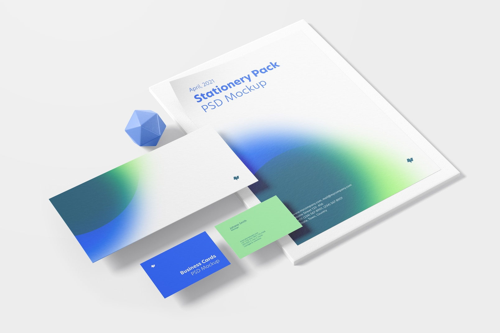 Stationery Scene Mockup, Perspective View 03