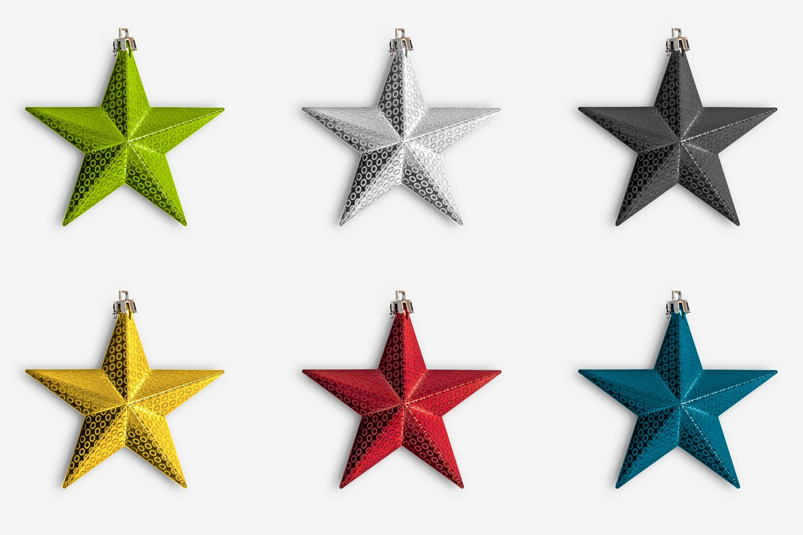 Christmas Colorful Stars Isolate 01