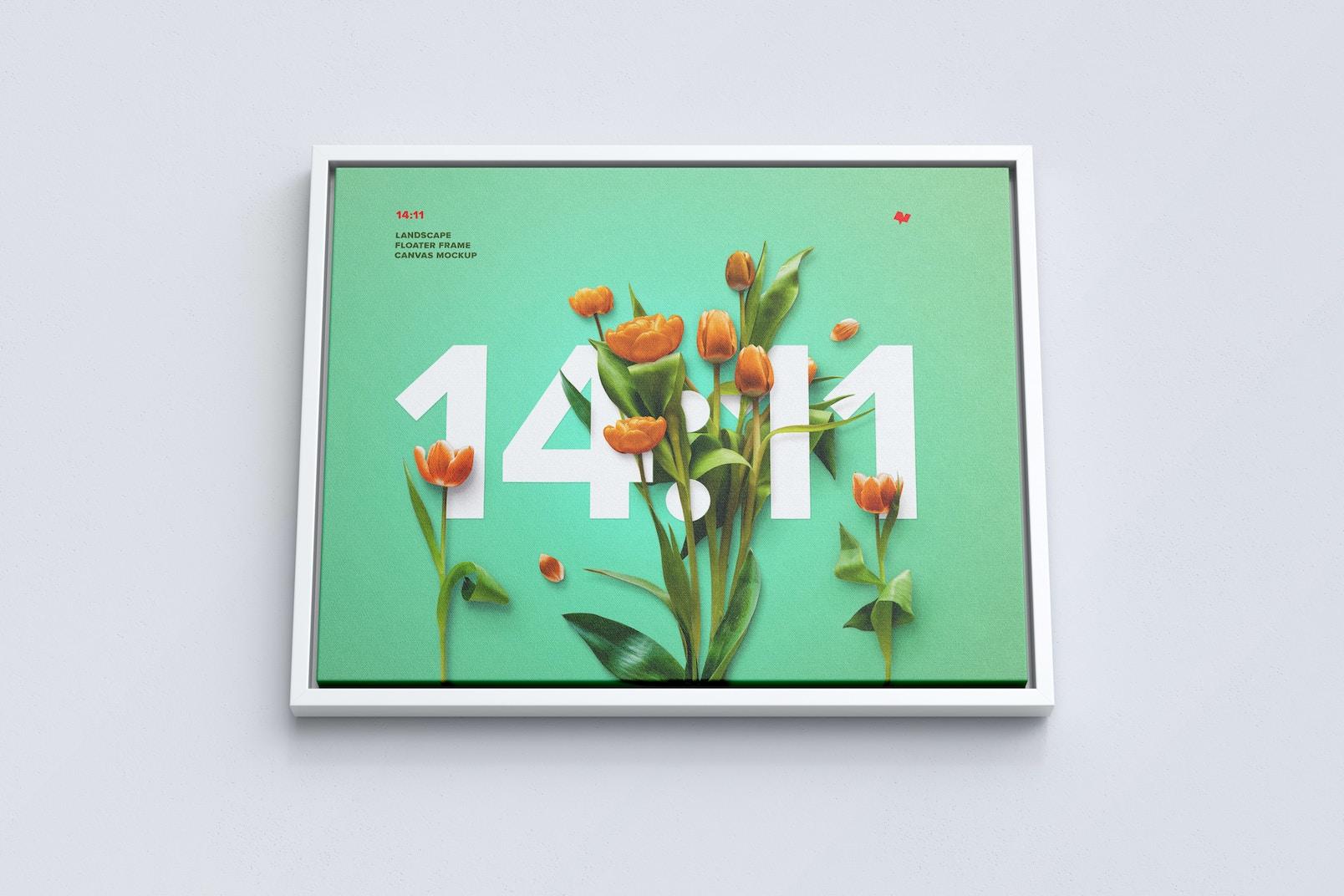 14:11 Landscape Canvas Mockup in Floater Frame, Bottom Front View