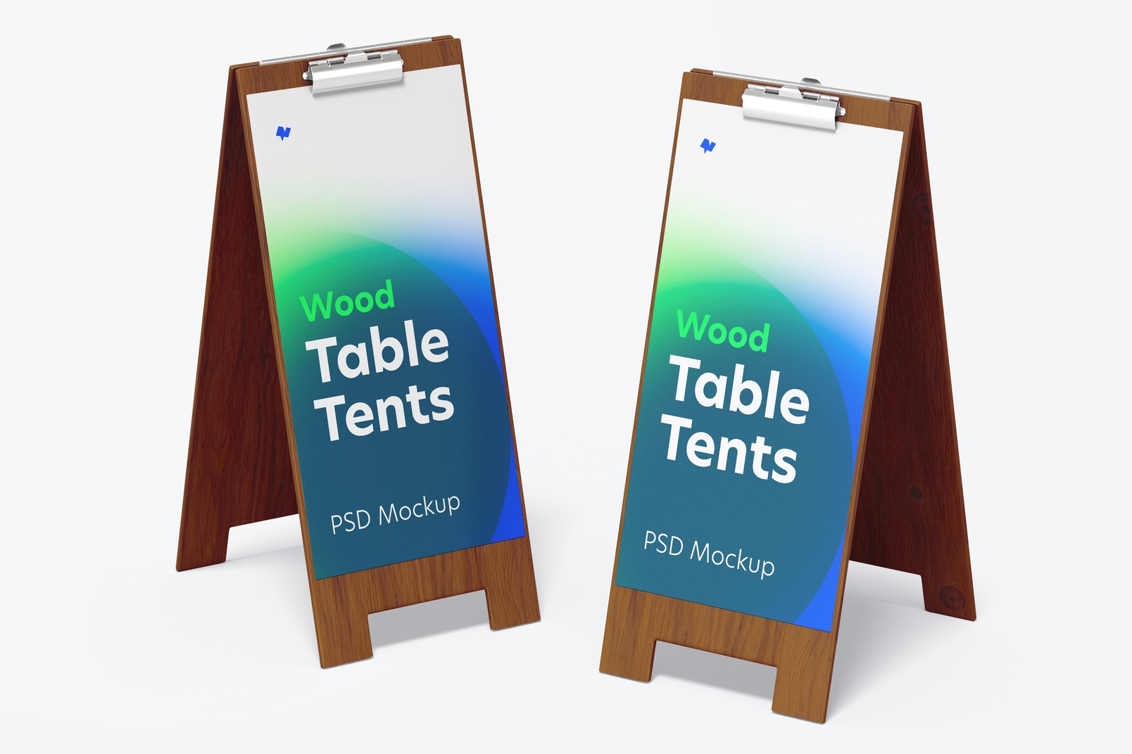 Wood Table Tents with Clip Mockup, Perspective
