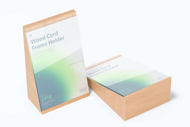 Wood Card Frame Holders Mockup, Perspective