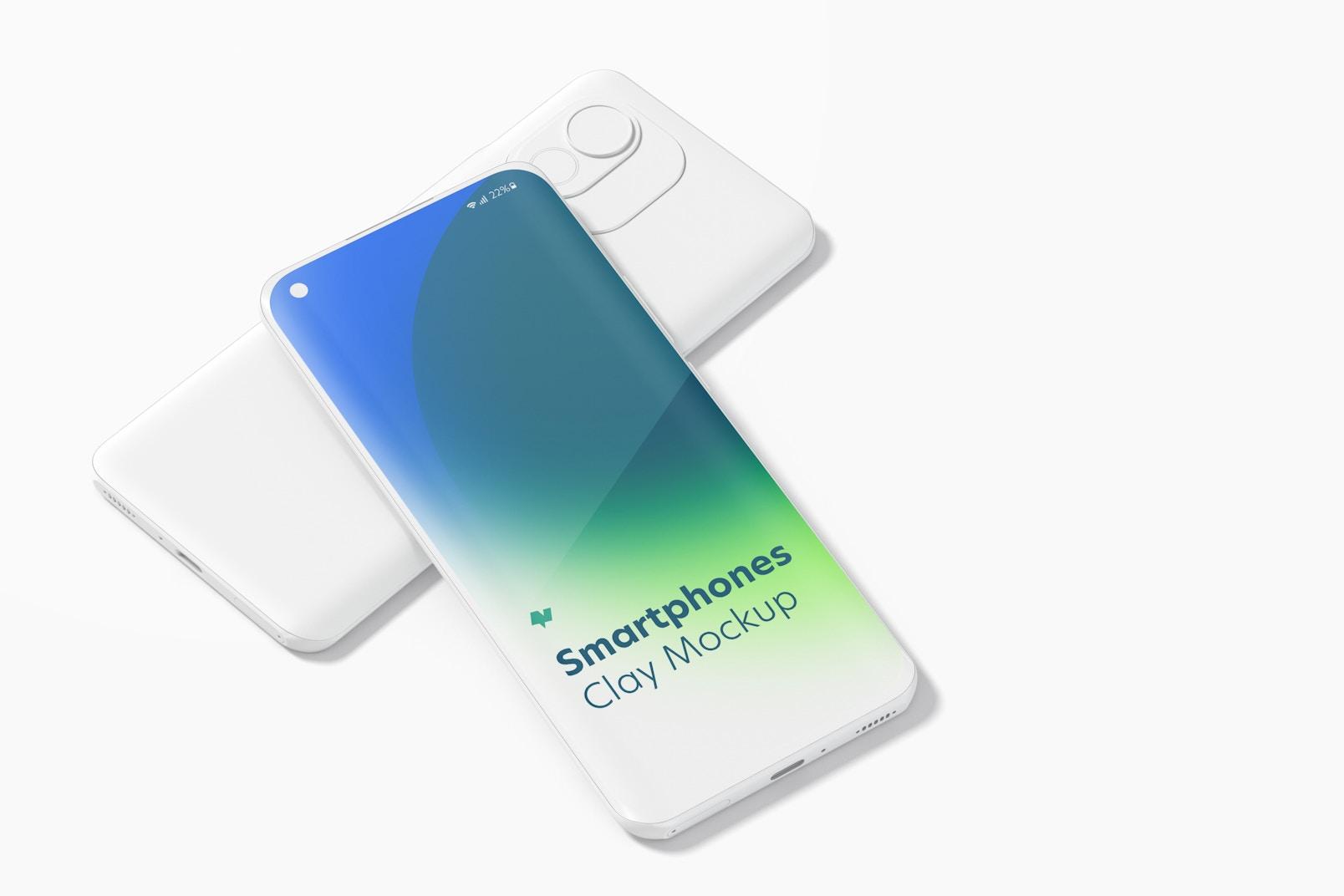 Clay Xiaomi Smartphones Mockup, Perspective