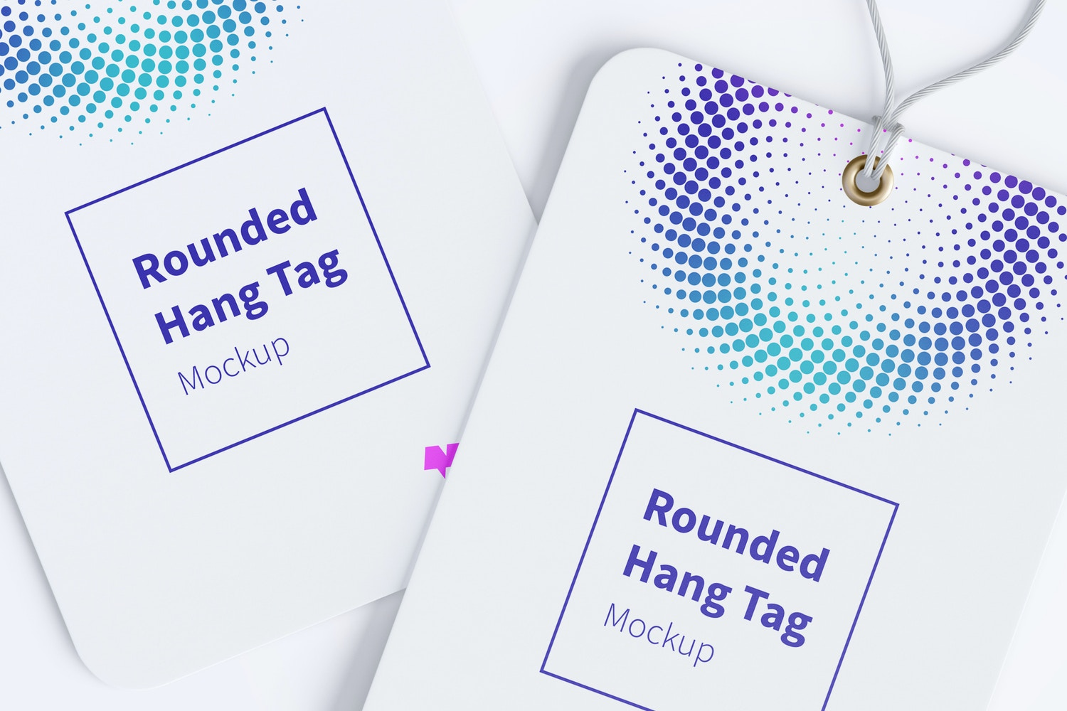 Rounded Hang Tags Mockup with String, Two-sided