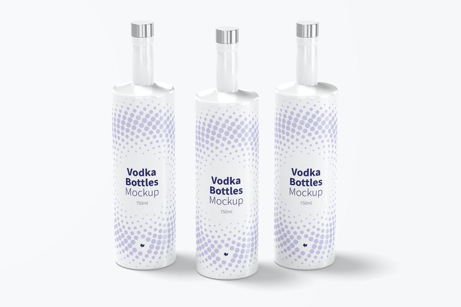 Vodka Bottles Set Mockup