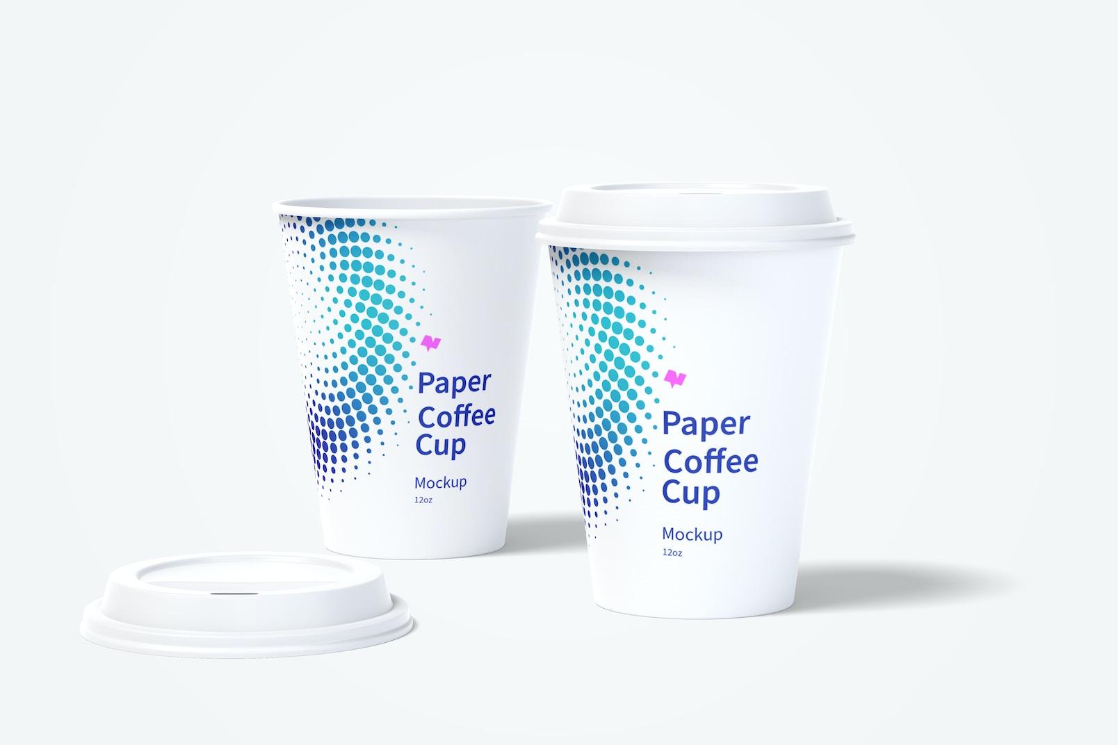 12oz Paper Coffee Cups Mockup 03