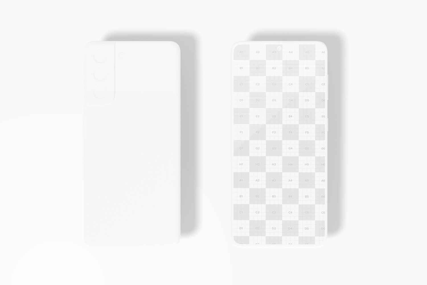 Clay Samsung S21 Mockup, Front and Back View