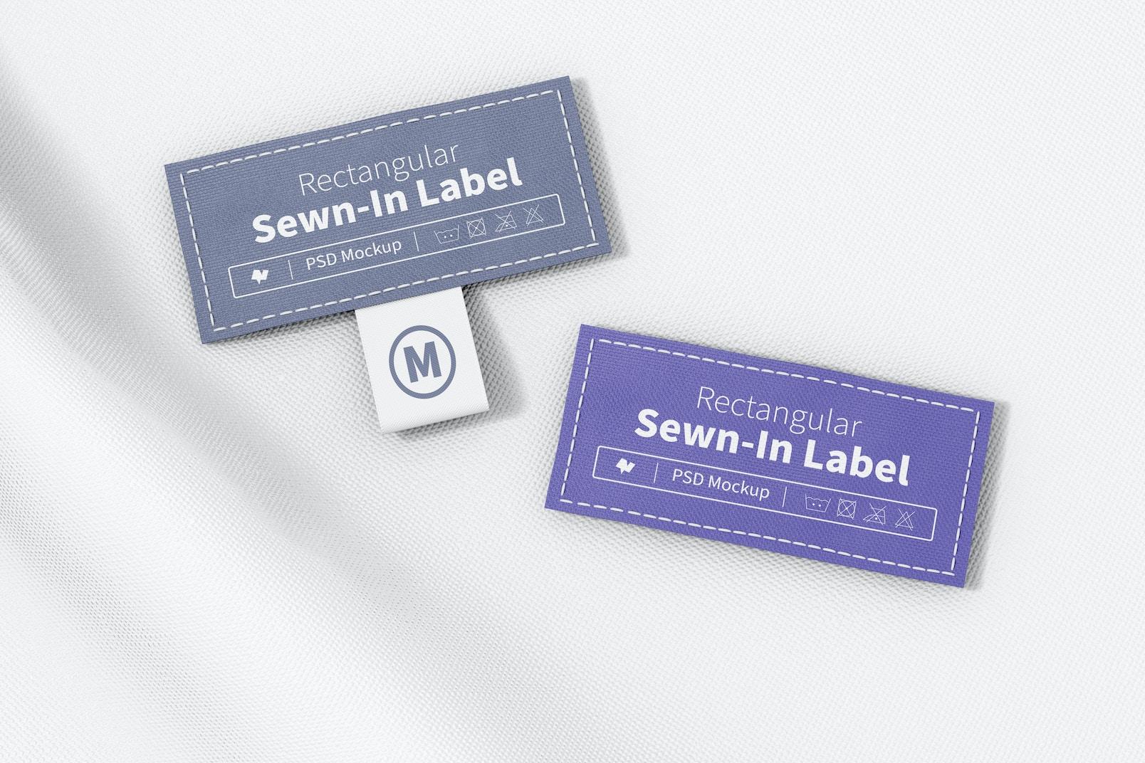 Rectangular Sewn-In Labels Mockup, Top View