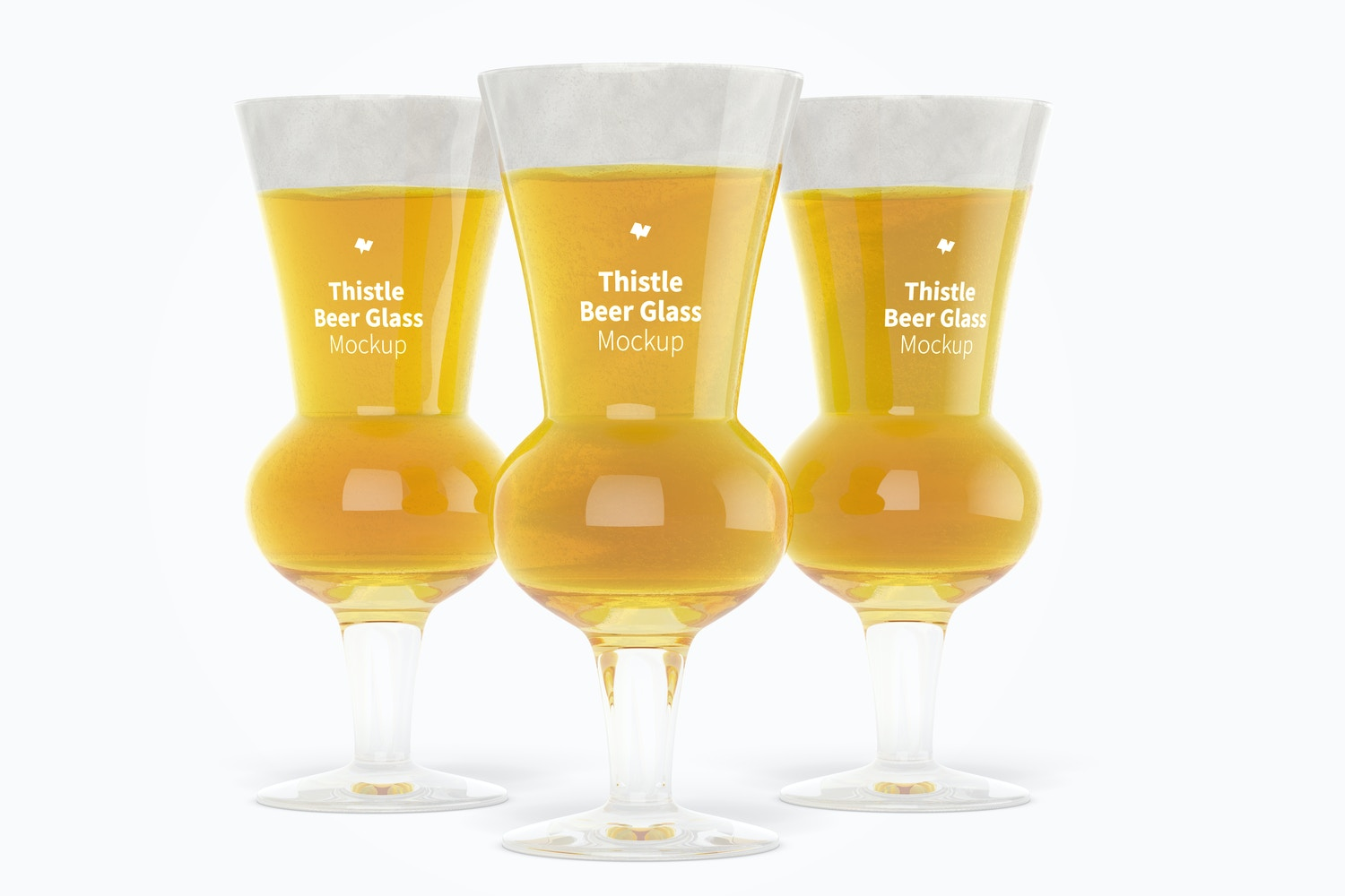 Thistle Beer Glasses Mockup, Front View