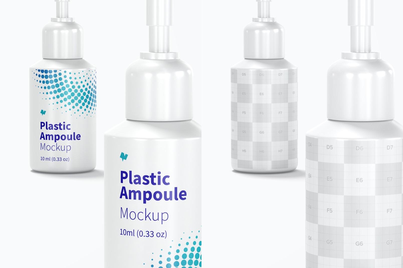 10 ml Plastic Ampoules Mockup, Close Up