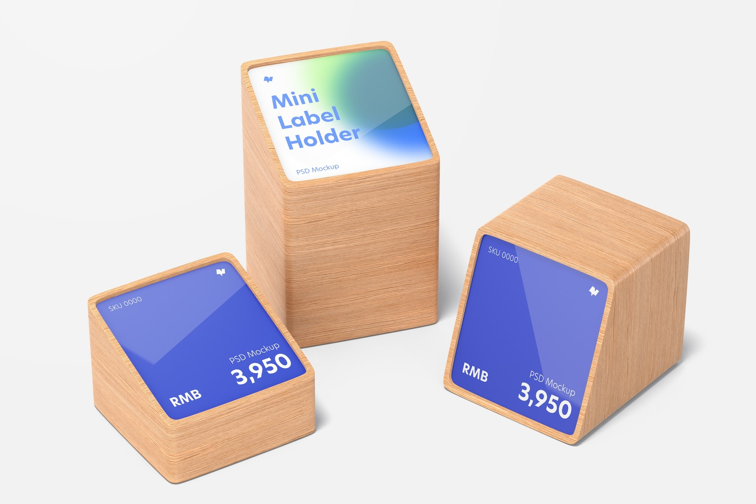 Wood Mini Price Label Holders Mockup, Front View