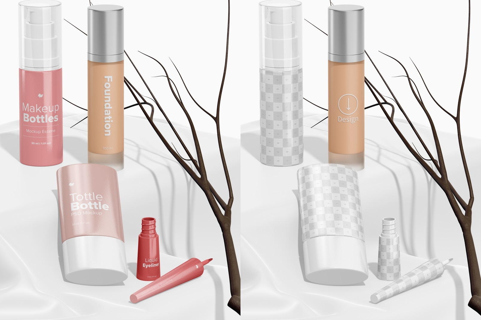 Makeup Bottles Scene Mockup, Standing and Dropped