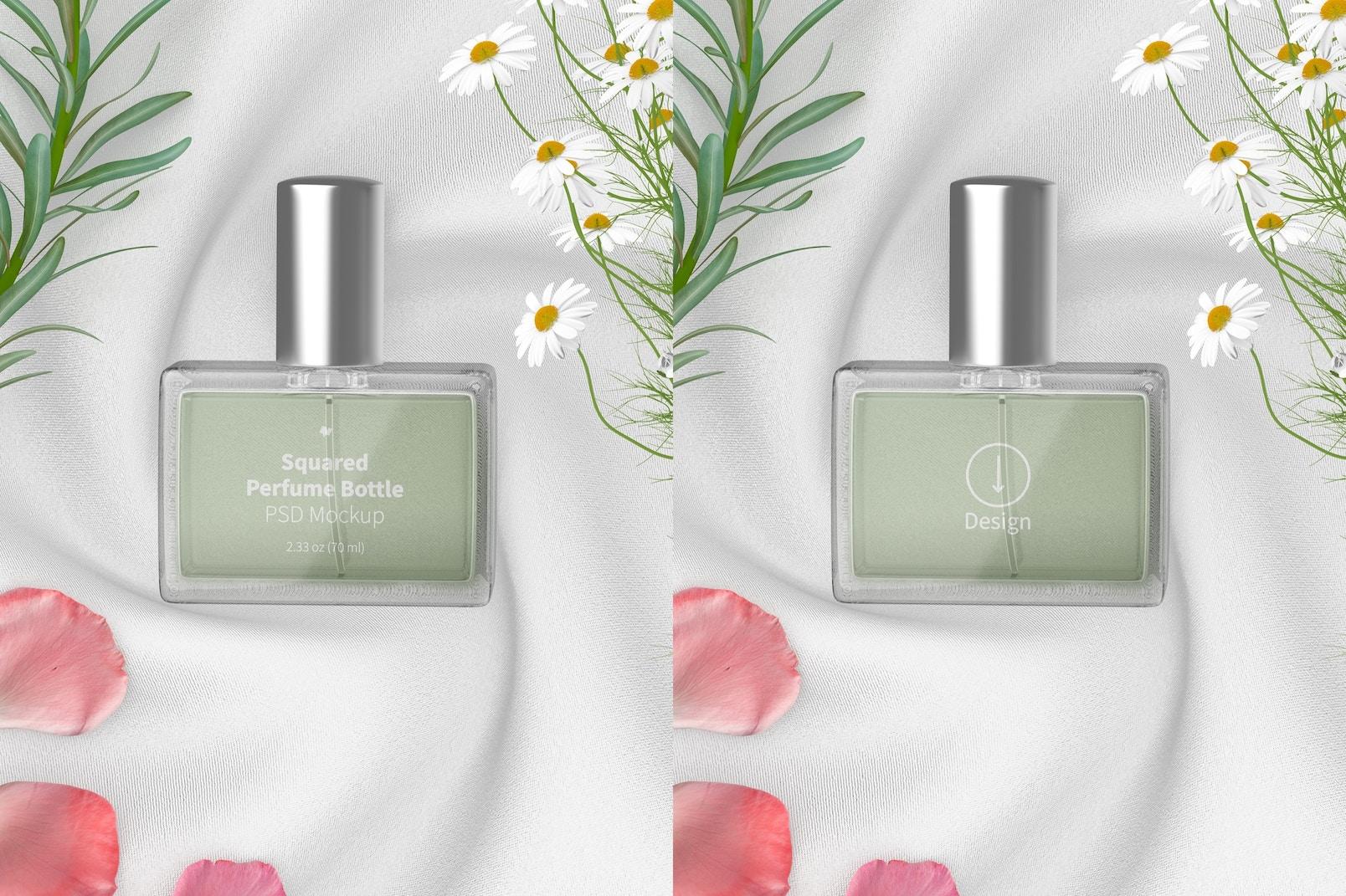 Squared Perfume Bottle Mockup