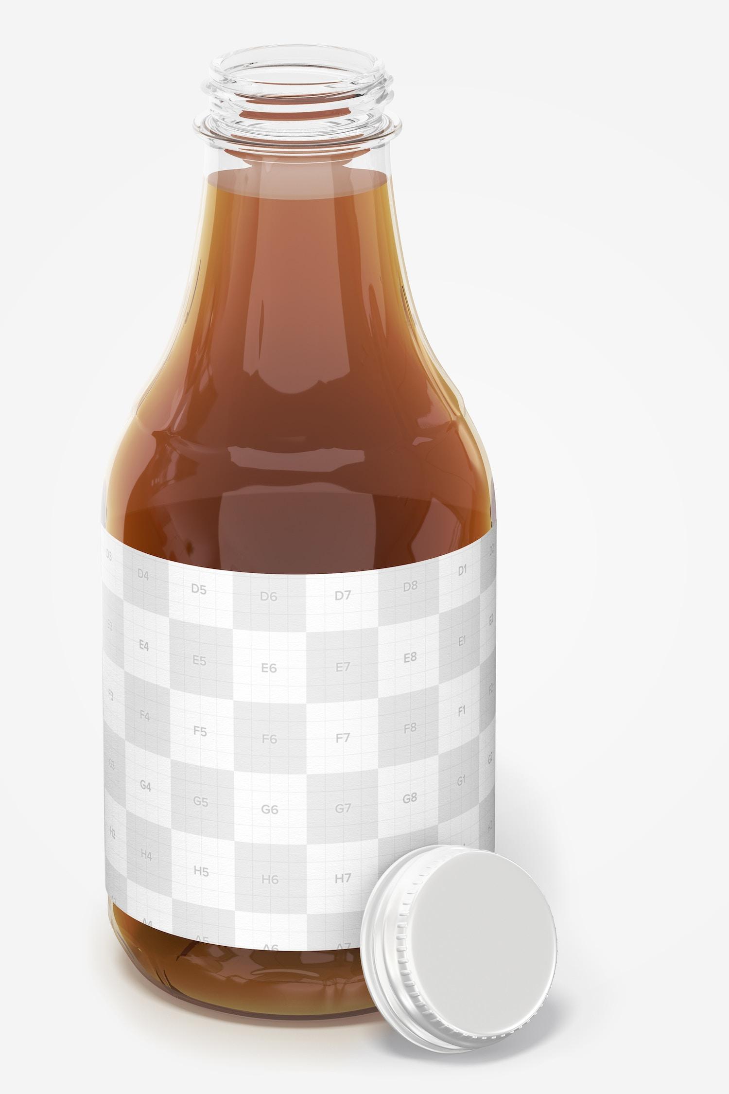 16 oz Glass Tea Bottle Mockup, Opened