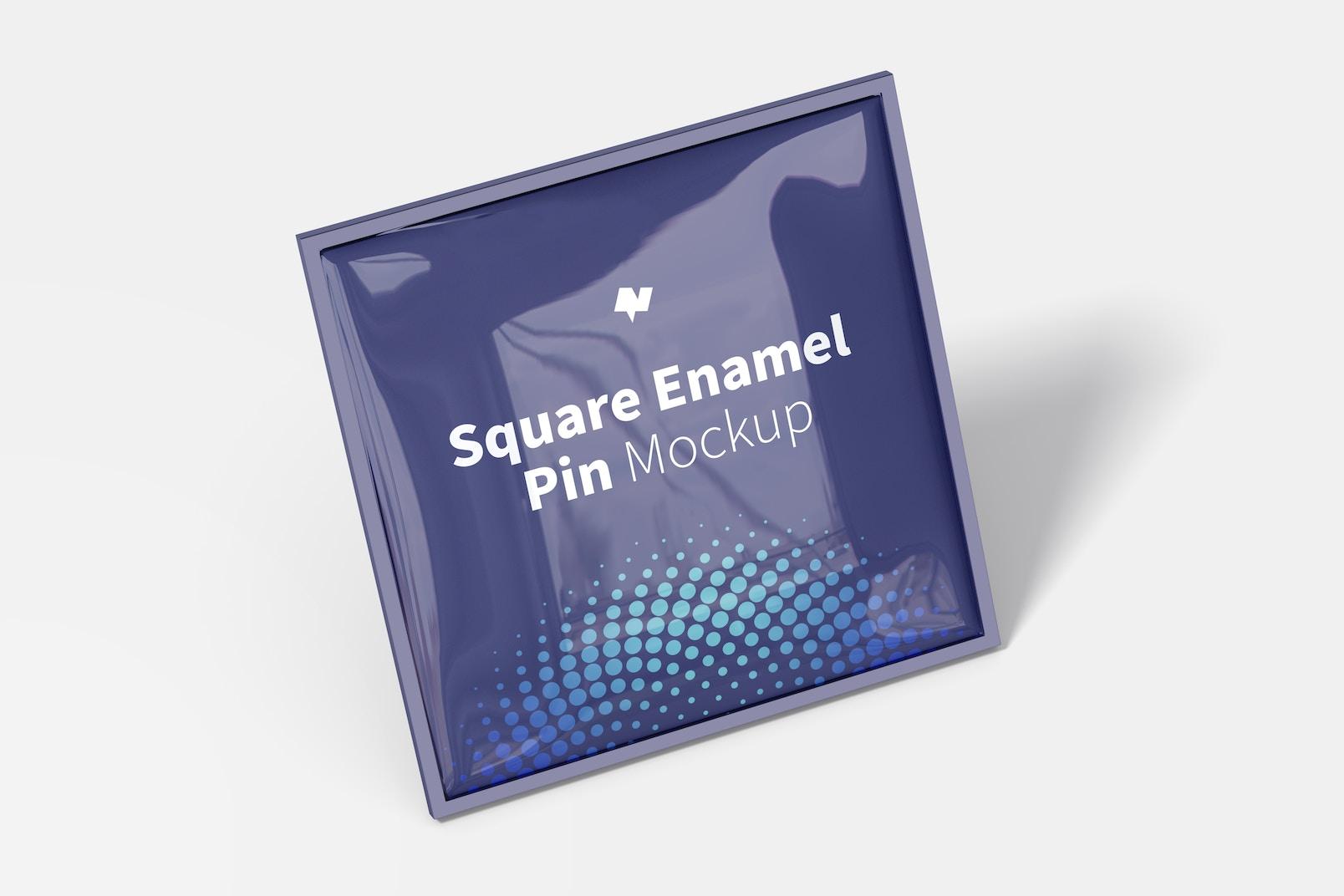 Square Enamel Pin Mockup