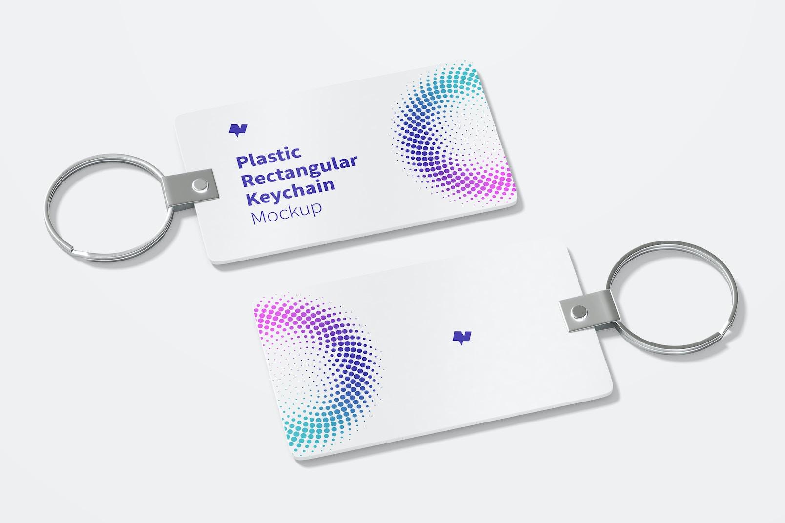 Plastic Rectangular Keychains Mockup, Right View
