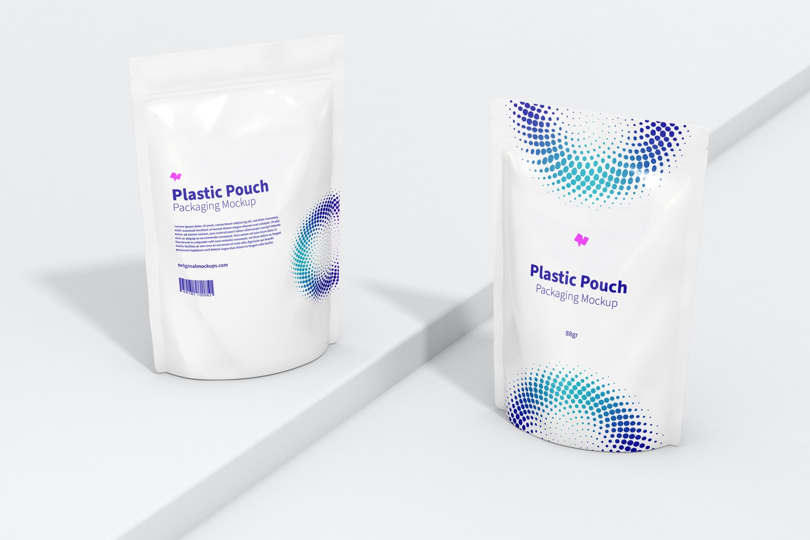 Plastic Pouches Packaging Mockup, Perspective View