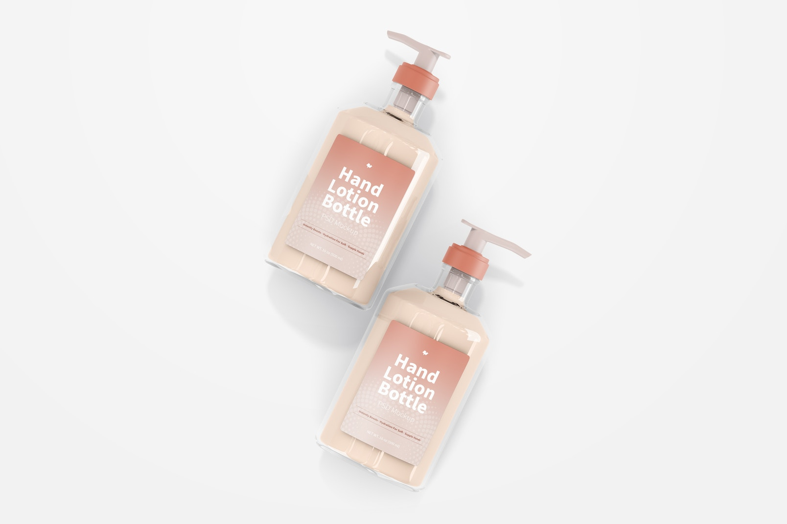 500 ml Hand Lotion Bottles Mockup, Top View