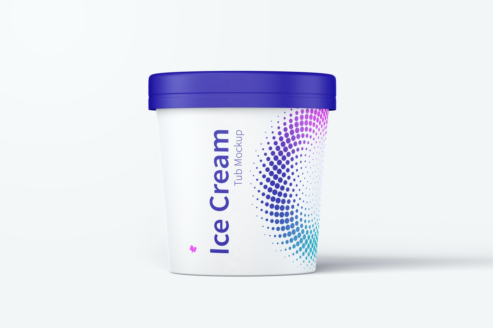 500ml Ice Cream Paper Tub Mockup, Front View