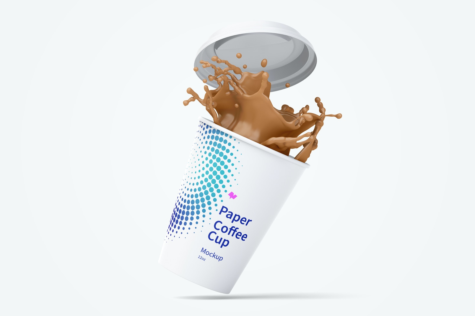 12oz Paper Coffee Cup Mockup with Splash