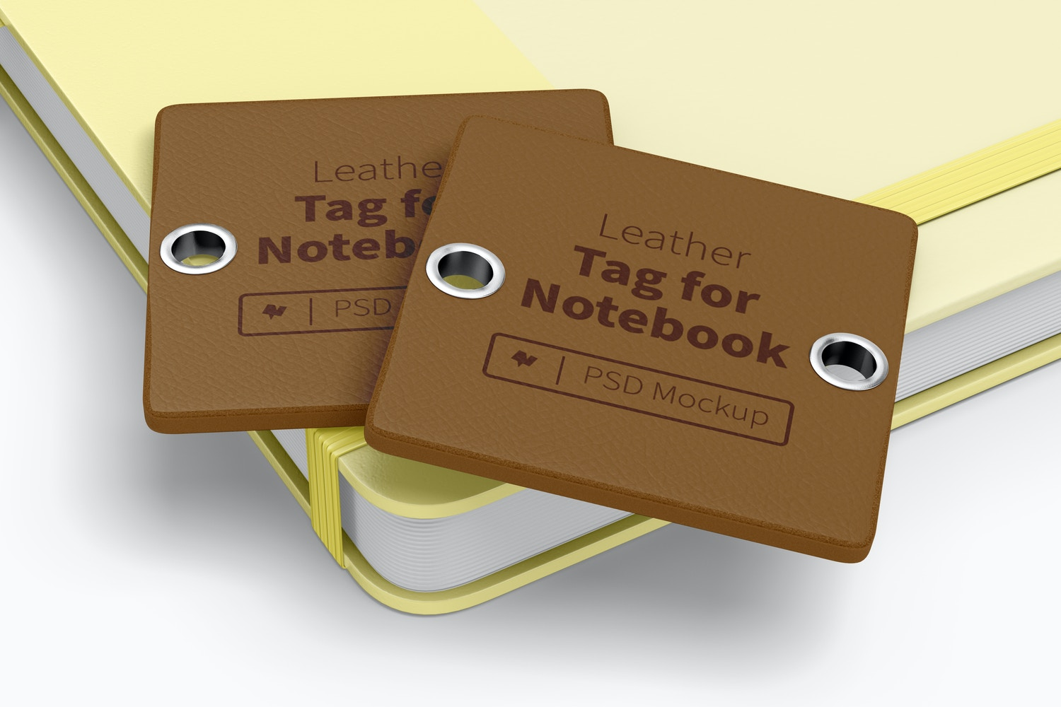 Leather Tag For Notebook Mockup, Stacked
