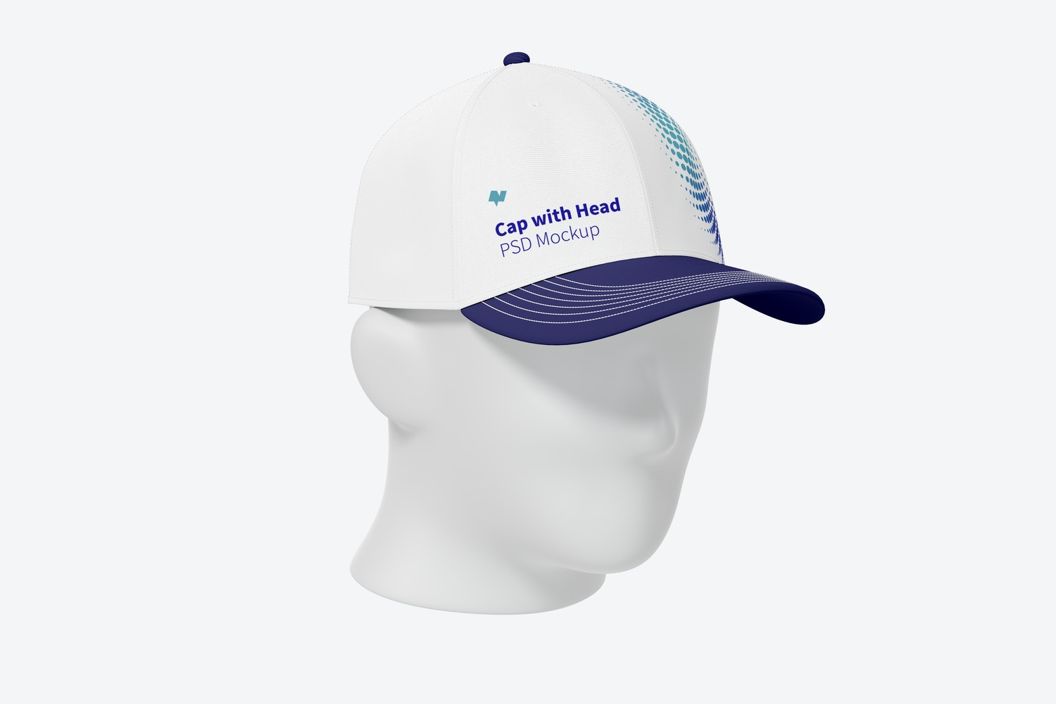 Cap with Head Mockup, 3/4 Front Left View