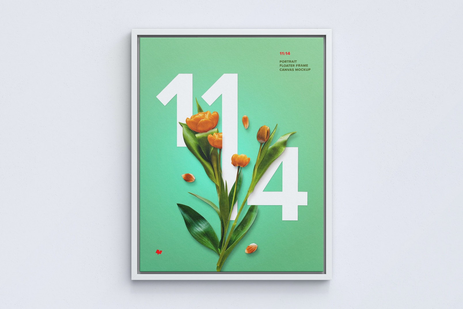 11:14 Portrait Canvas Mockup in Floater Frame, Front View