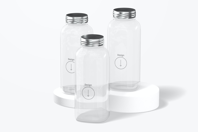 12 oz Glass Bottle Set Mockup