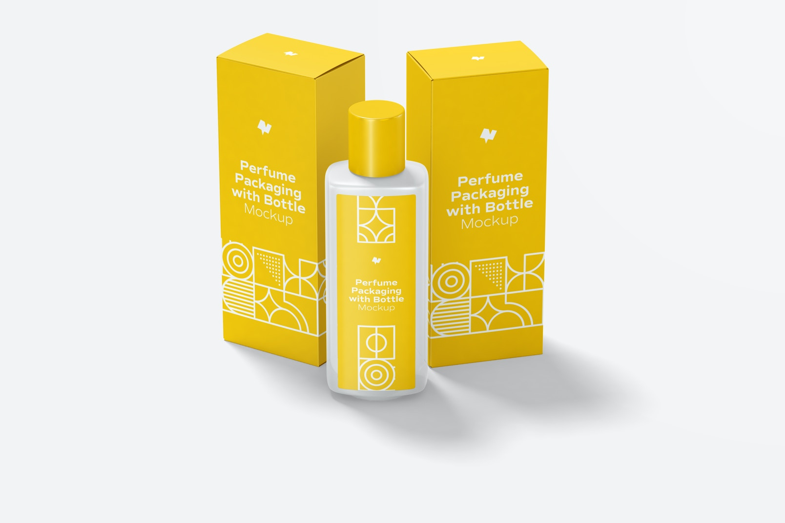 Large Perfume Packaging with Bottle Mockup, Front View