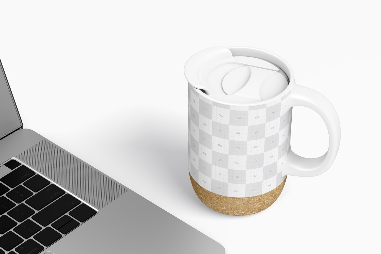 15 oz Ceramic Mug with Lid Mockup, Perspective