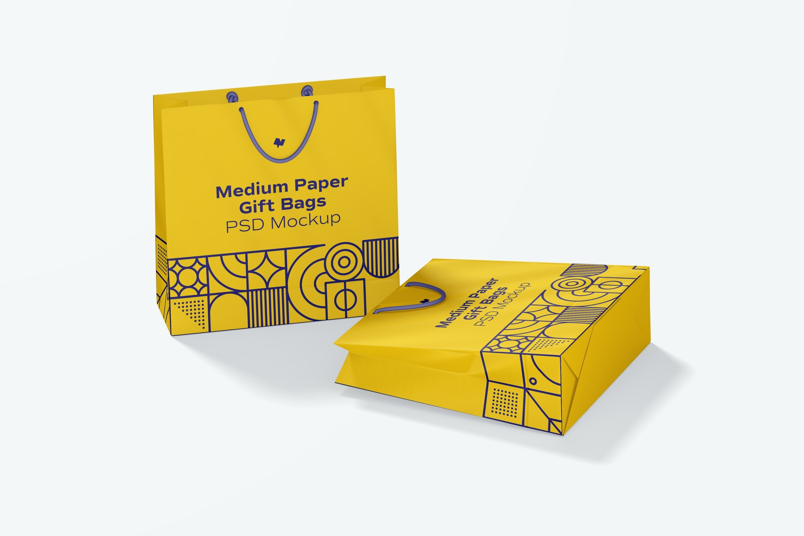 Medium Paper Gift Bag With Rope Handle Mockup, Dropped