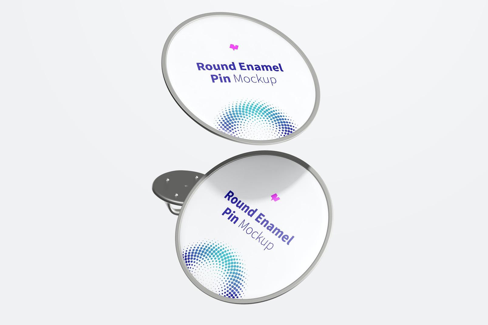 Round Enamel Pin Mockup, Floating