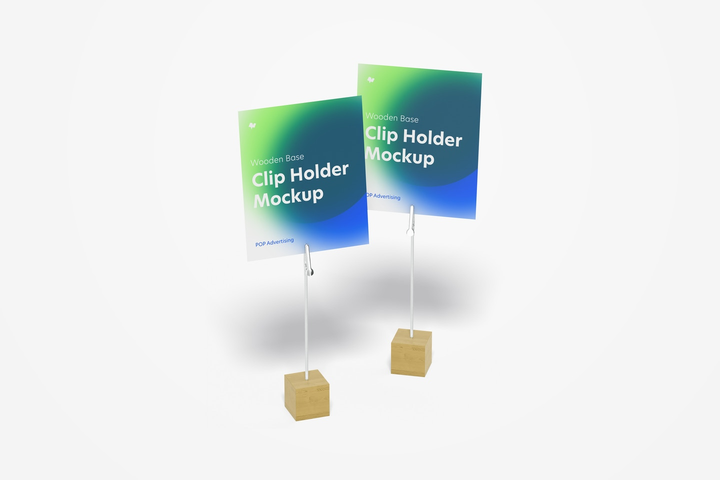 Wooden Base Photo Clip Holders Mockup, Perspective