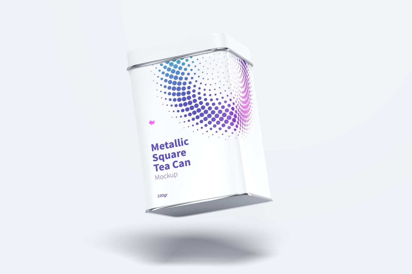 Metallic Square Tea Tin Can Mockup, Floating