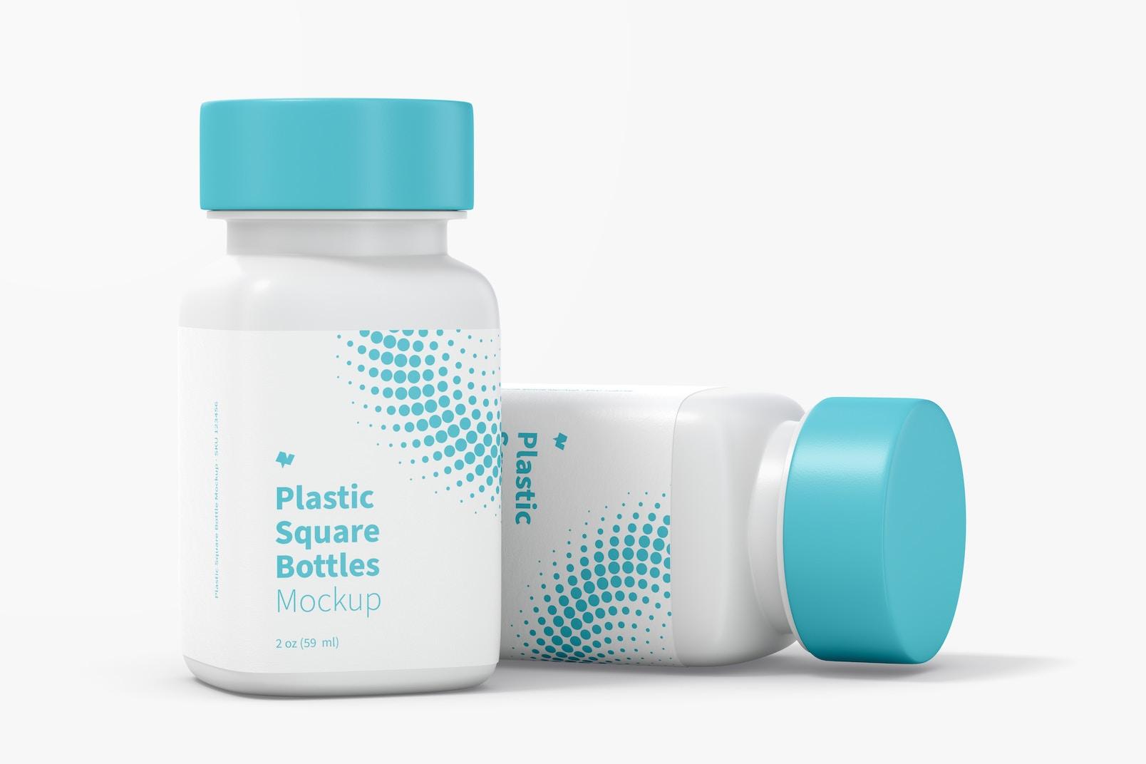 2 oz Plastic Square Bottles Mockup, Dropped