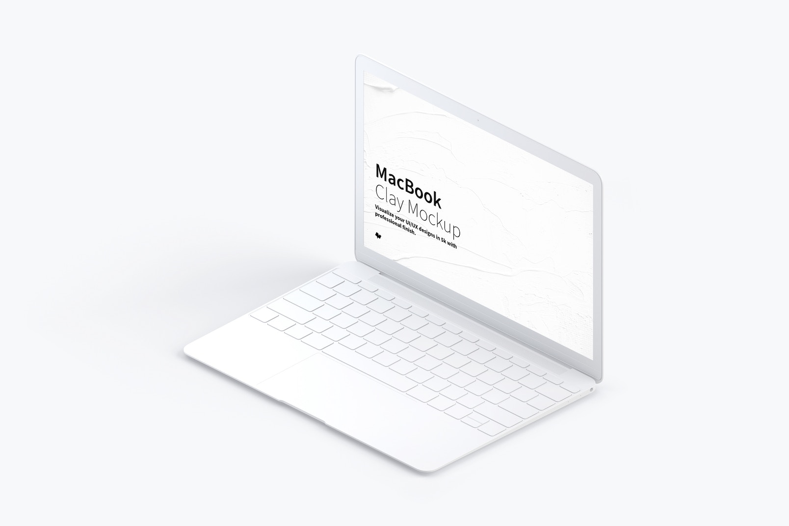 Clay MacBook Mockup, Isometric Right View