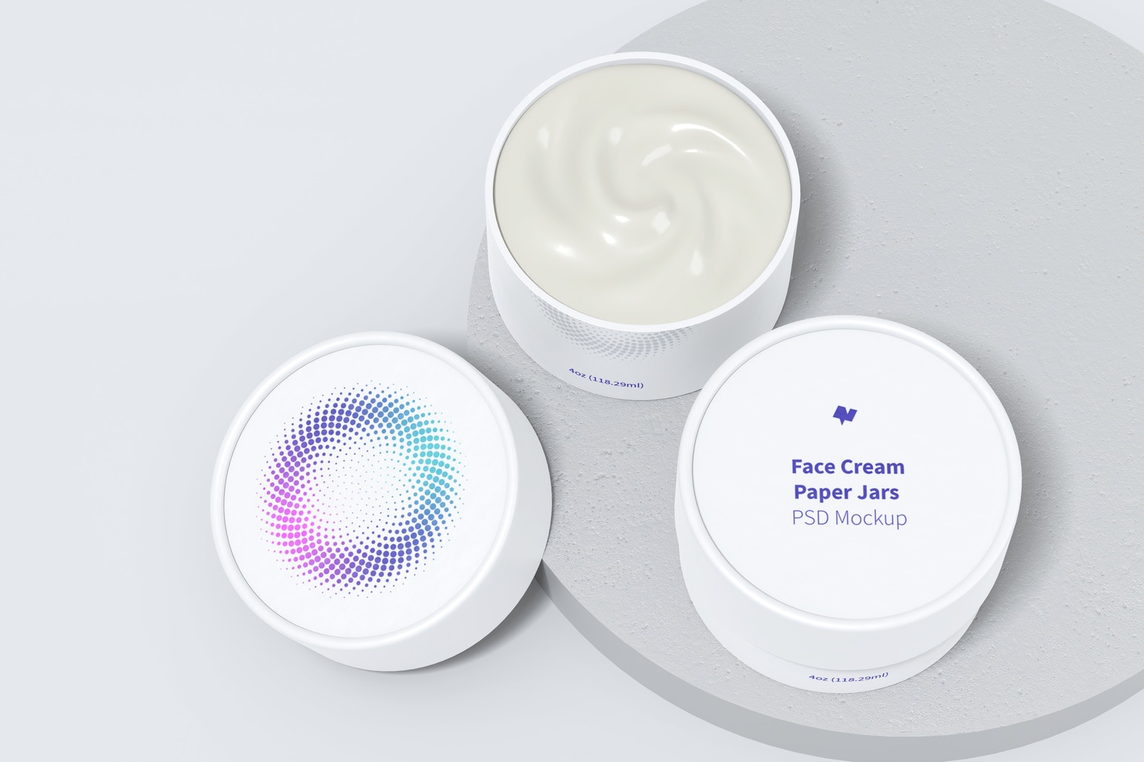 4oz Face Cream Paper Jars Mockup, with Round Stone