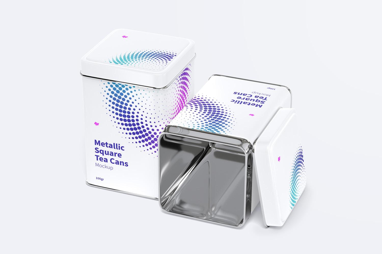 Metallic Square Tea Tin Cans Set Mockup, Closed and Opened
