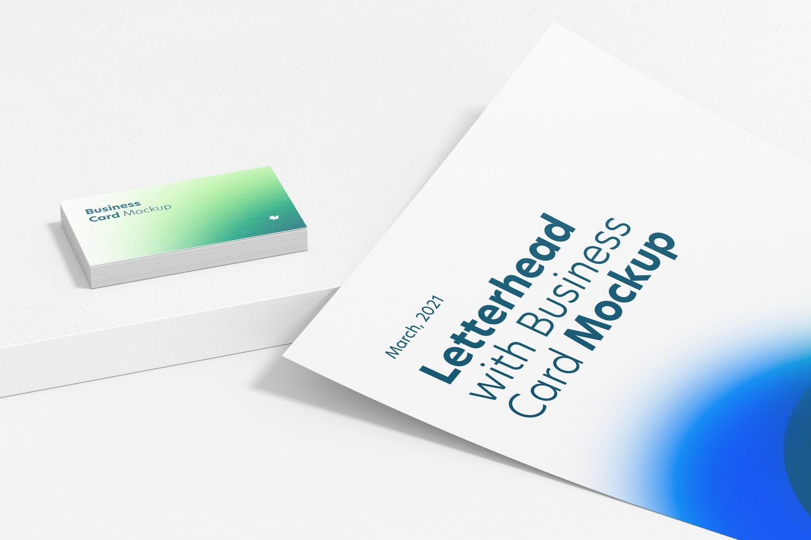 Maqueta de Membrete con Tarjeta de Presentación, Primer Plano