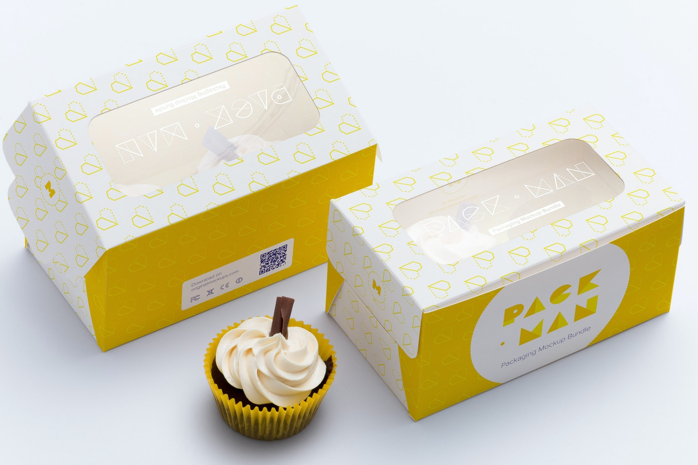 Two Cupcake Box Mockup 02