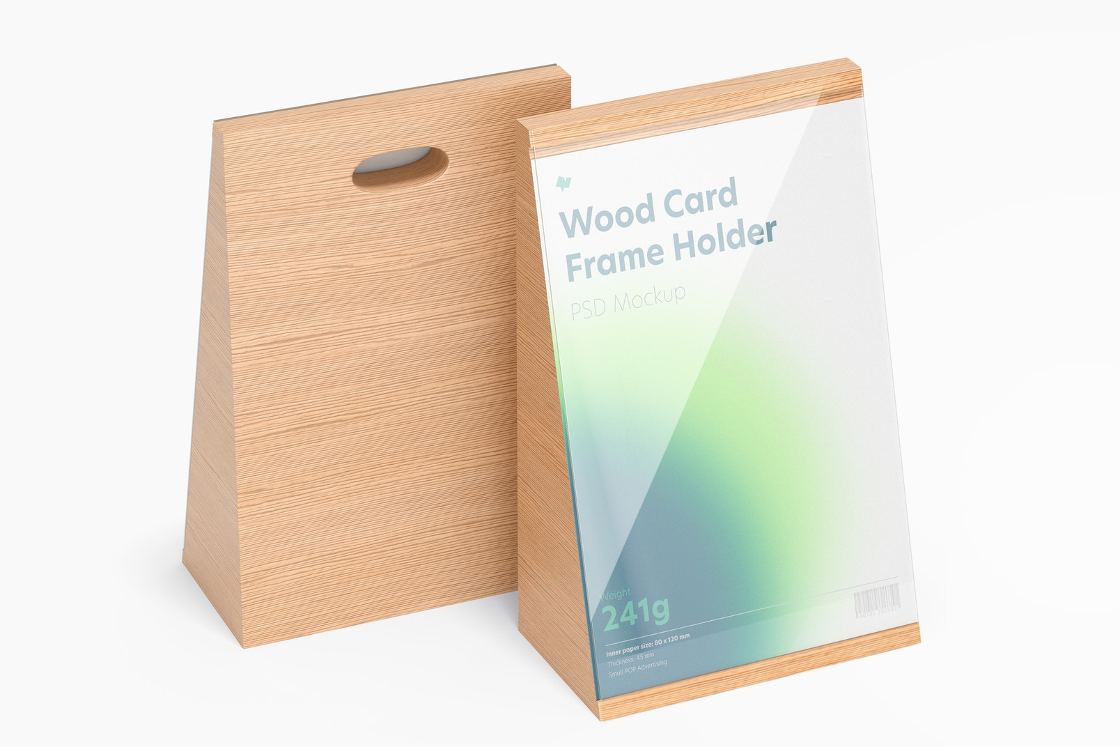 Wood Card Frame Holders Mockup, Right View
