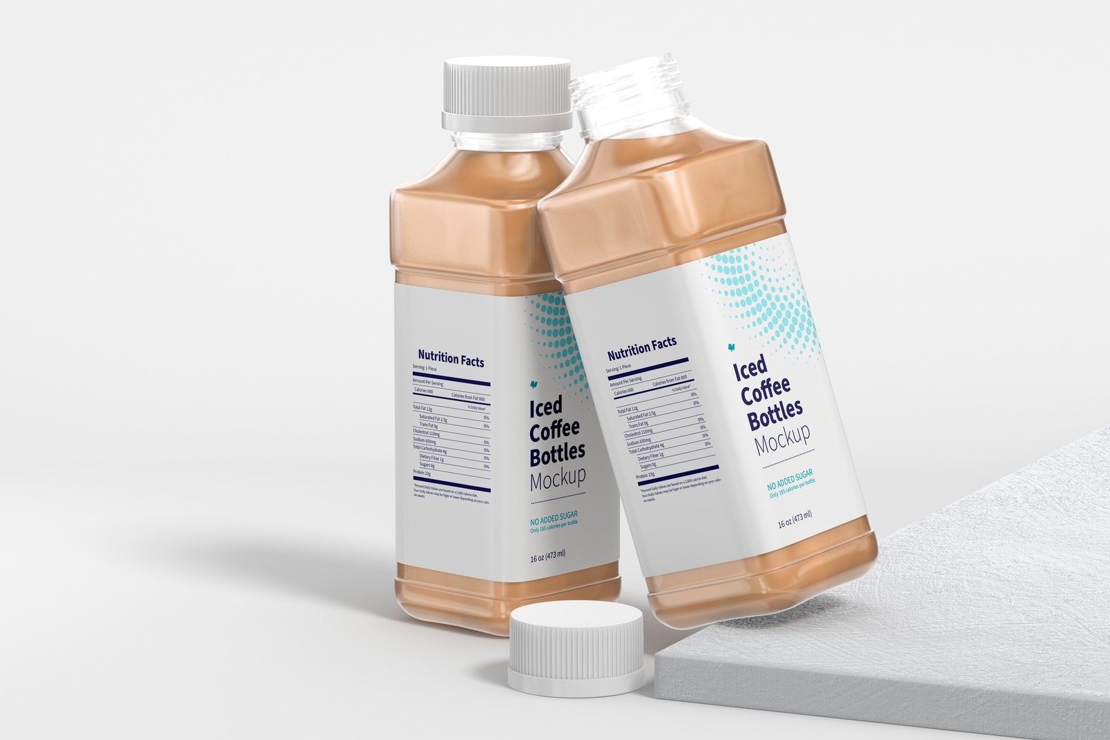 16 oz Iced Coffee Bottles Mockup, Opened and Closed